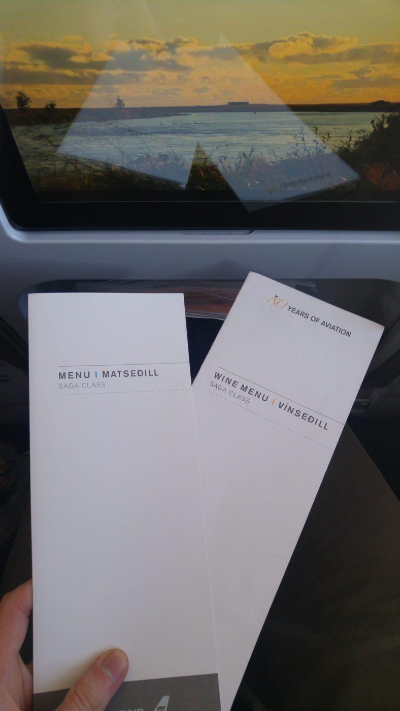 Business Class in-flight menu