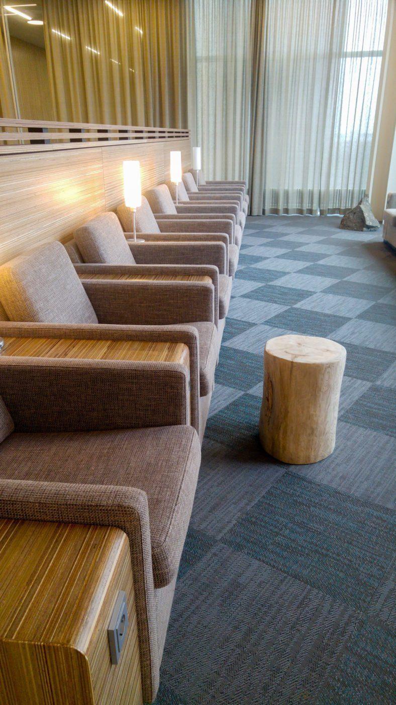 Quiet corner of Icelandair Saga Lounge