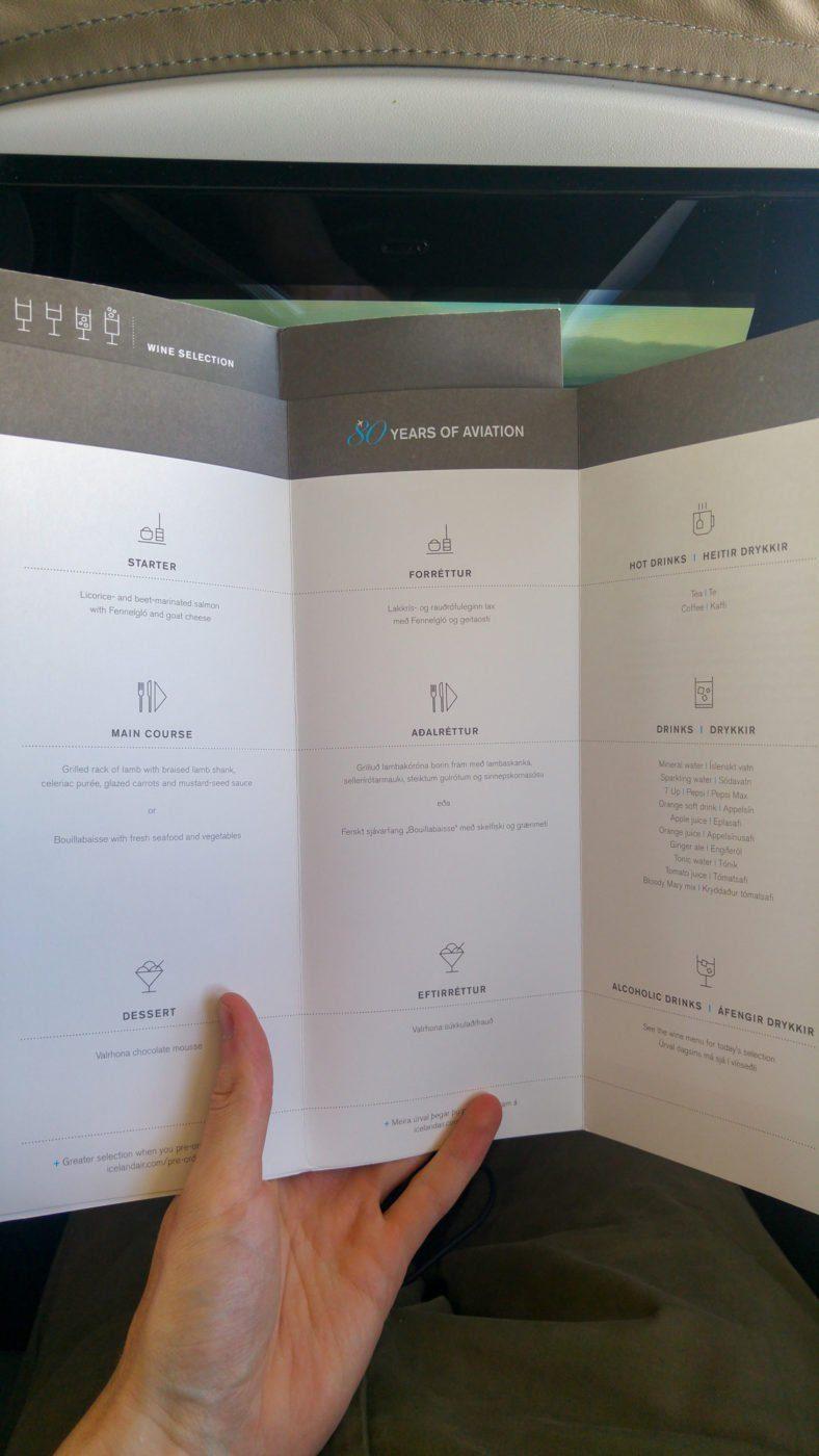 Saga Class in-flight menu