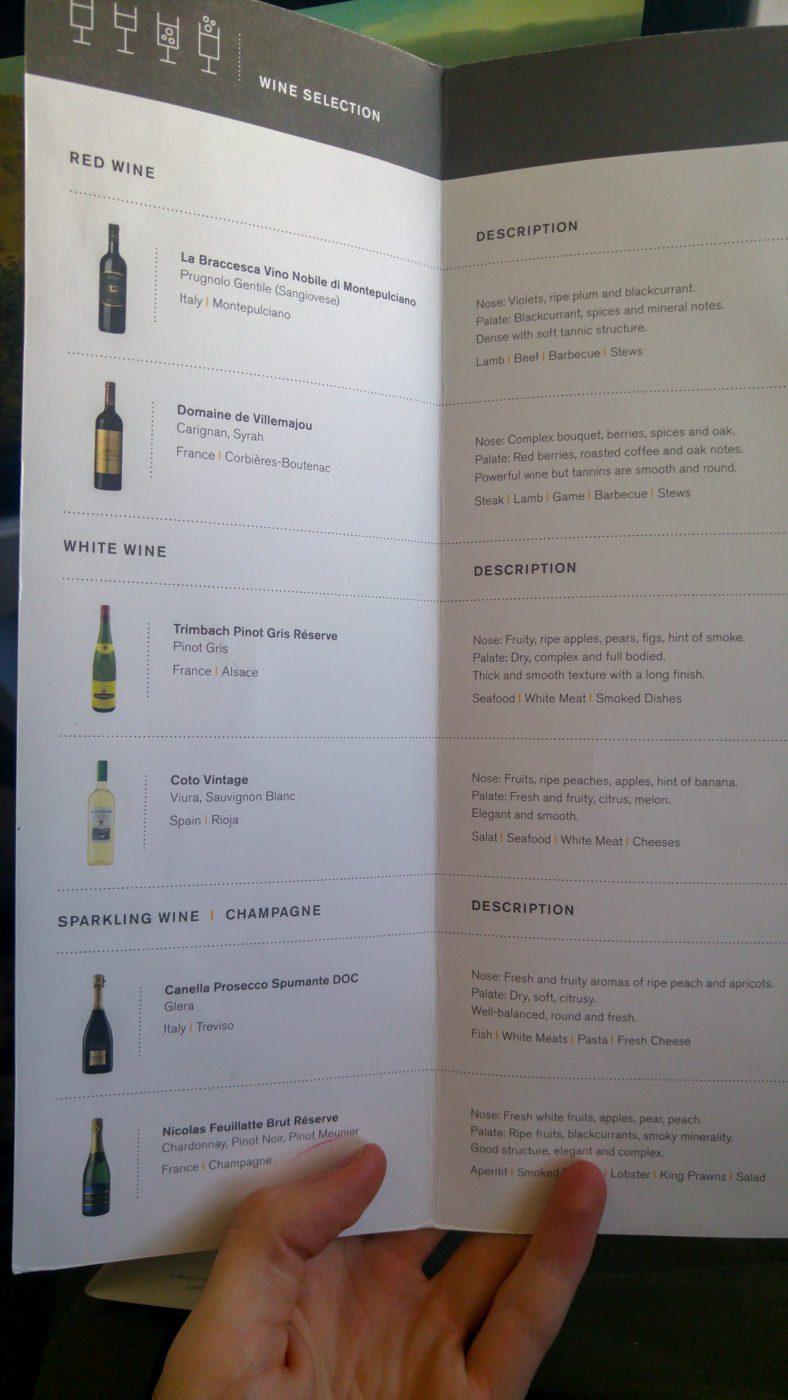 Saga Class in-flight wine menu