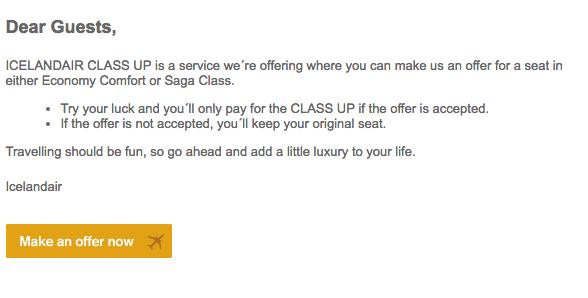 an e-mail from Icelandair regarding Class Up