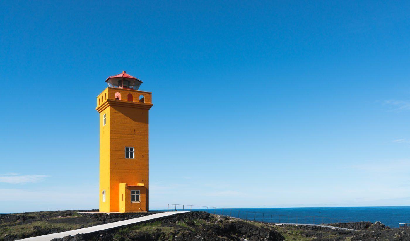 Orange lighthouse at Svörtuloft