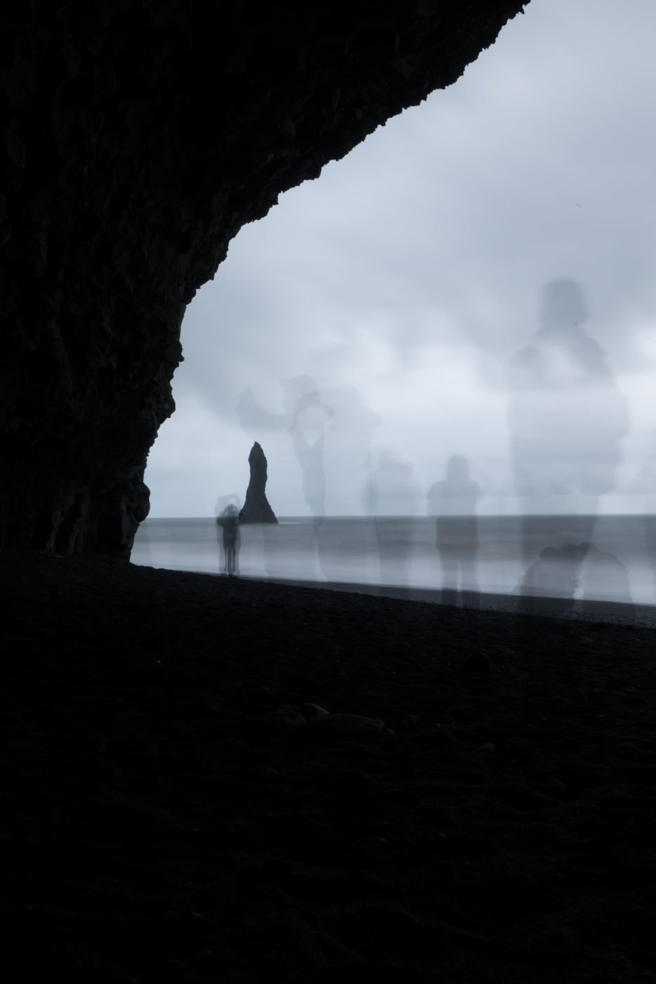 Reynisdrangar as seen from Vatnshellir cave