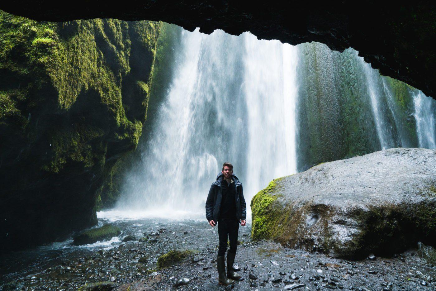 Inside the cave of the Gljufrabui waterfall