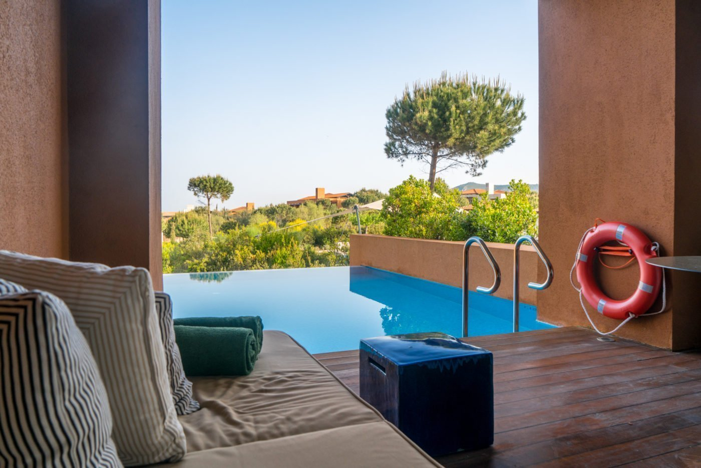 Infinity Pool from the Infinity Room at The Romanos, Costa Navarino, Greece