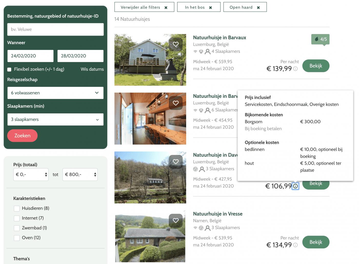 De gebruiksvriendelijke website van Natuurhuisje